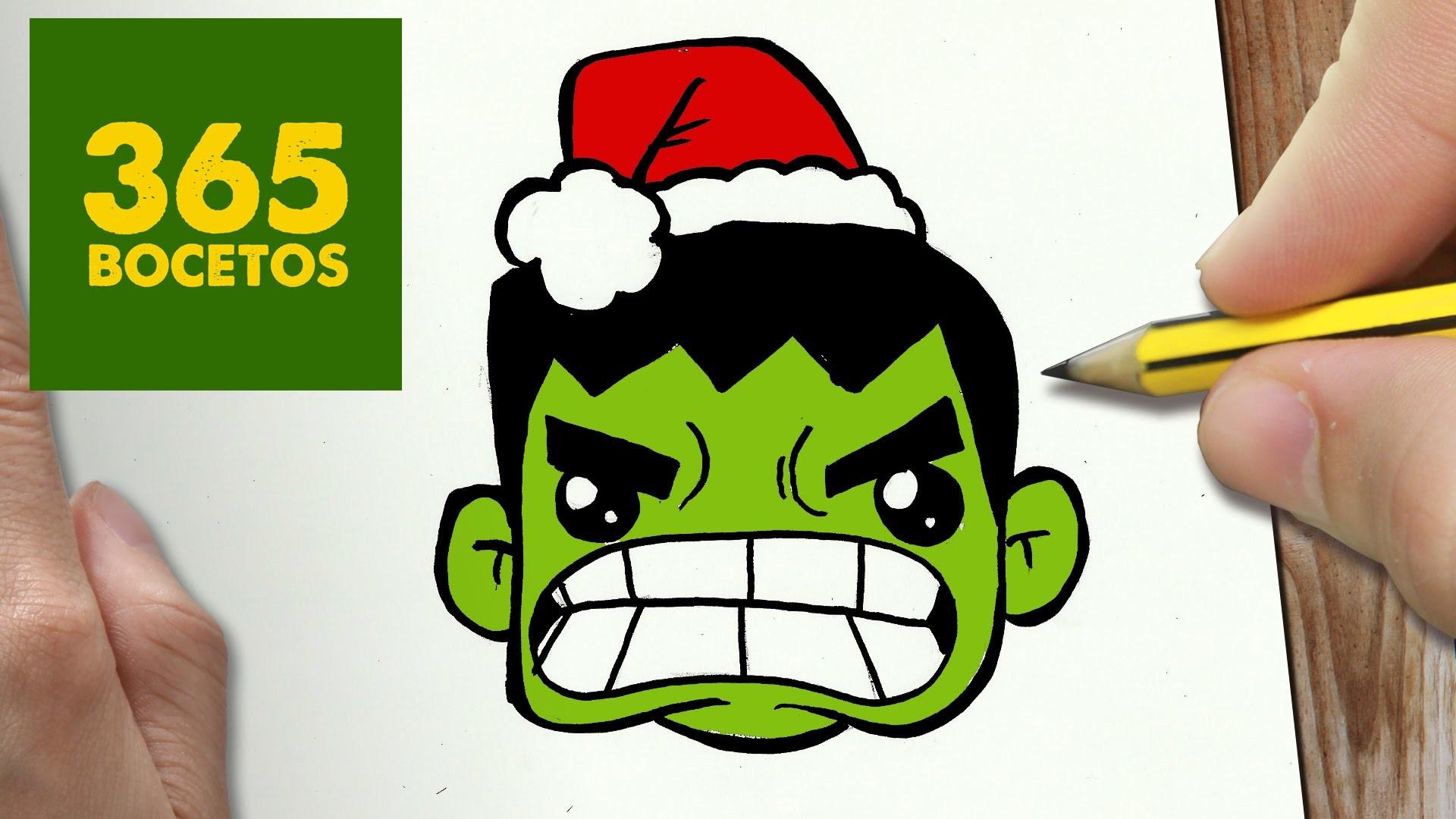 Como Dibujar Un Cuaderno Para Navidad Paso A Paso Dibujos: COMO DIBUJAR UN HULK PARA NAVIDAD PASO A PASO: Dibujos