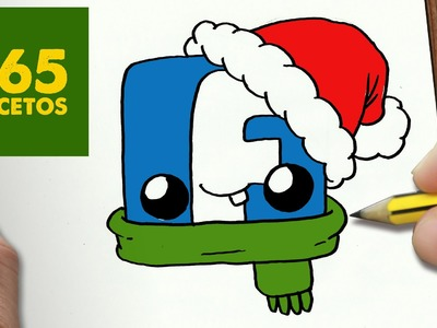 COMO DIBUJAR UN LOGO FACEBOOK PARA NAVIDAD PASO A PASO: Dibujos kawaii navideños - draw Facebook