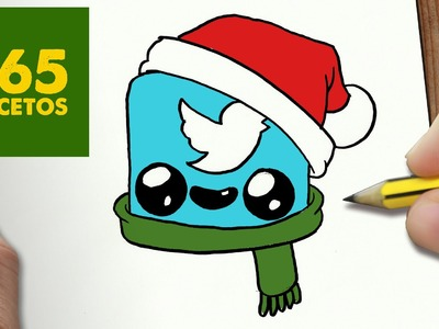 COMO DIBUJAR UN LOGO TWITTER PARA NAVIDAD PASO A PASO: Dibujos kawaii navideños - draw TWITTER