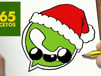 COMO DIBUJAR UN LOGO WHATSAPP PARA NAVIDAD PASO A PASO: Dibujos kawaii navideños - draw WHATSAPP
