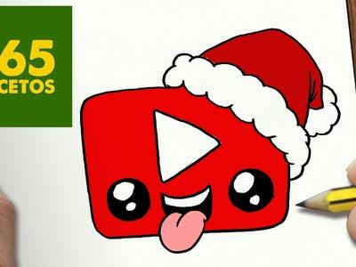 COMO DIBUJAR UN LOGO YOUTUBE PARA NAVIDAD PASO A PASO: Dibujos kawaii navideños - draw YOUTUBE
