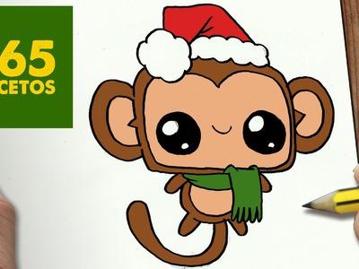 COMO DIBUJAR UN MONO PARA NAVIDAD PASO A PASO: Dibujos kawaii navideños - How to draw a Monkey