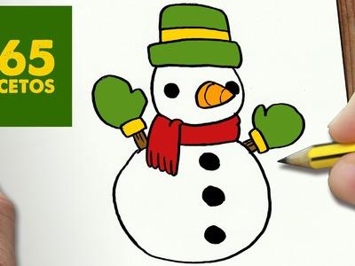 COMO DIBUJAR UN MUÑECO DE NIEVE PARA NAVIDAD PASO A PASO: Dibujos kawaii navideños - draw  Snowman