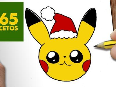 COMO DIBUJAR UN PIKACHU PARA NAVIDAD PASO A PASO: Dibujos kawaii navideños - How to draw a Pikachu