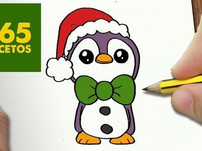 COMO DIBUJAR UN PINGUINO PARA NAVIDAD PASO A PASO: Dibujos kawaii navideños - How to draw a Penguin