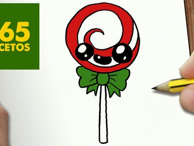 COMO DIBUJAR UN PIRULETA PARA NAVIDAD PASO A PASO: Dibujos kawaii navideños - How to draw a lollipop