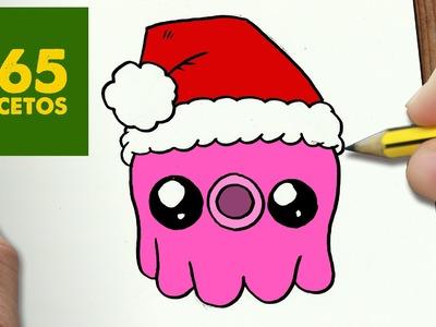 COMO DIBUJAR UN PULPO PARA NAVIDAD PASO A PASO: Dibujos kawaii navideños - How to draw a octopus