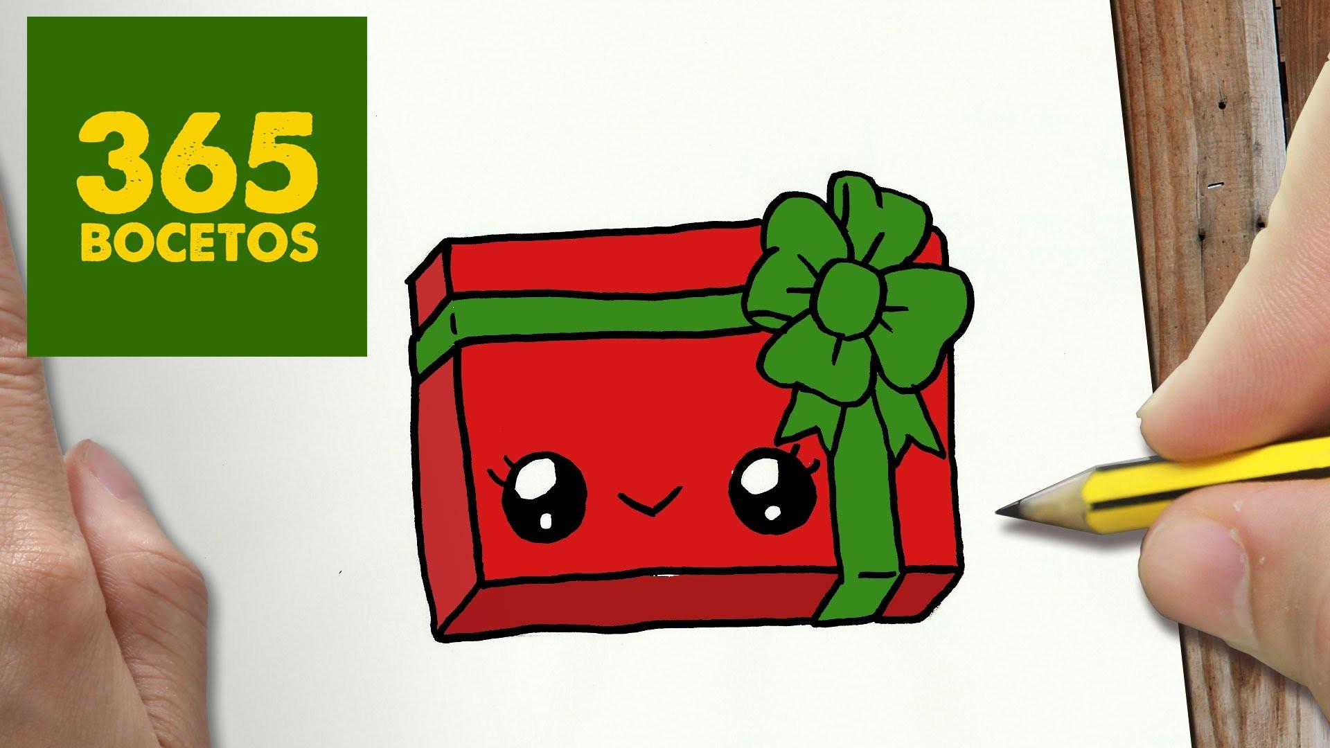 Como Dibujar Un Cuaderno Para Navidad Paso A Paso Dibujos: COMO DIBUJAR UN REGALO PARA NAVIDAD PASO A PASO: Dibujos