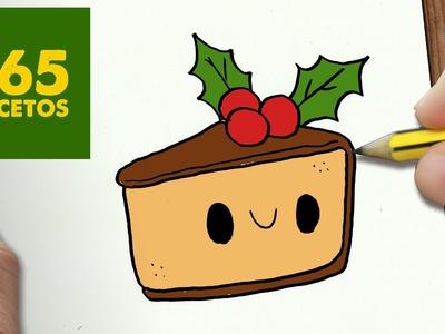 COMO DIBUJAR UN TARTA PARA NAVIDAD PASO A PASO: Dibujos kawaii navideños - How to draw a Cake