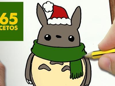 COMO DIBUJAR UN TOTORO PARA NAVIDAD PASO A PASO: Dibujos kawaii navideños - How to draw a Totoro