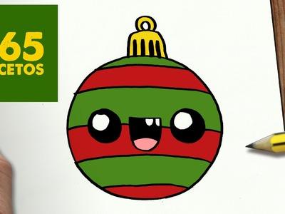 COMO DIBUJAR UNA BOLA PARA NAVIDAD PASO A PASO: Dibujos kawaii navideños - How to draw a Ball