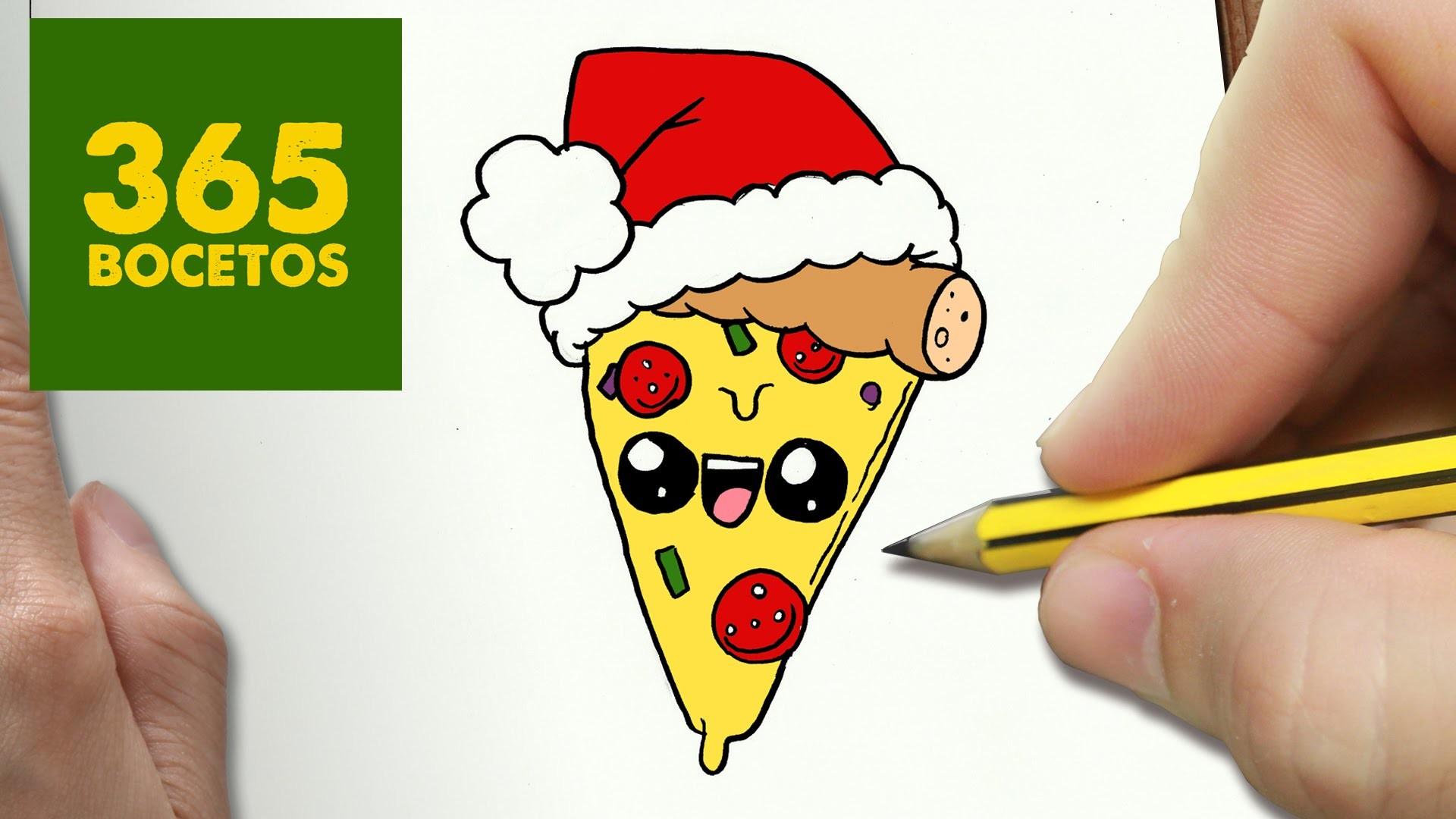 COMO DIBUJAR UNA PIZZA PARA NAVIDAD PASO A PASO: Dibujos kawaii ...