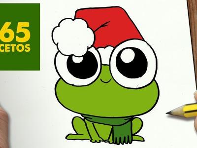 COMO DIBUJAR UNA RANA PARA NAVIDAD PASO A PASO: Dibujos kawaii navideños - How to draw a Frog