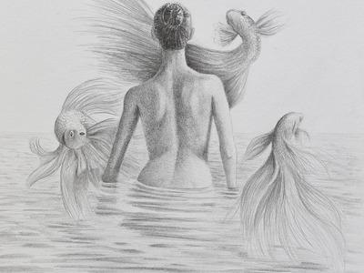 Cómo hacer un dibujo surrealista - Mujer en el agua de espalda con peces volando