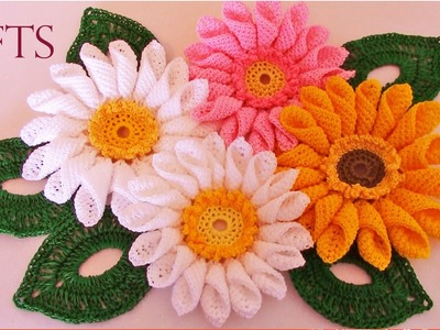 Como tejer fácil rápido ramo de margaritas para mamá-Make quick and easy knitting beautiful flowers
