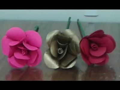 Flores con tubos de papel higienico