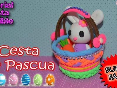 ♥ Tutorial: Cestita.Canasta de Pascua de Pasta Flexible o Porcelana Fría || Easter Basket♥