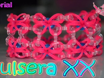 ♥ Tutorial: Pulsera XX de gomitas (Sin Telar) | Hook only ♥