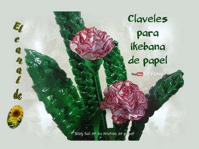 Claveles para ikebana de papel - Paper carnations for ikebana