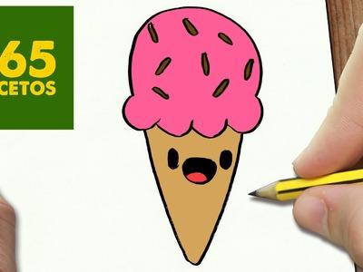 COMO DIBUJAR UN HELADO KAWAII PASO A PASO - Dibujos kawaii faciles - How to draw a ice cream cone
