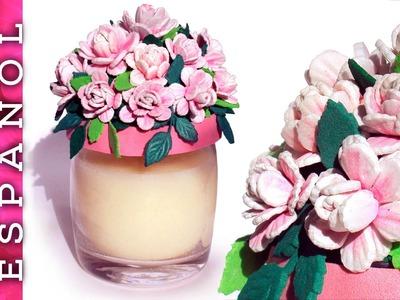 Cómo hacer Rositas de goma eva para decorar tapa de tarro