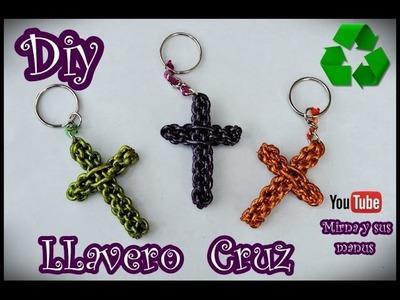 Diy. Llavero Cruz.  Mirna y sus manus  Diy. recycled cross keychain