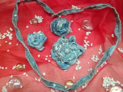 FLORES CON TIRAS DE JEANS Flowers out of jeans