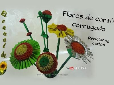 Flores de cartón corrugado   reciclando cartón - Flowers recycling corrugated cardboard