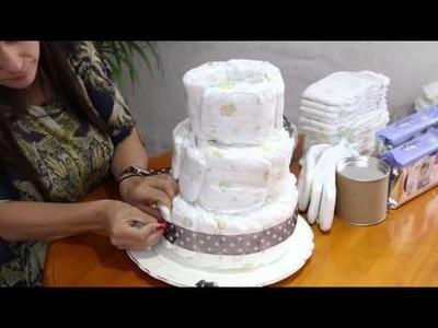 ¿Te animás a hacer un diaper cake de 3 pisos?