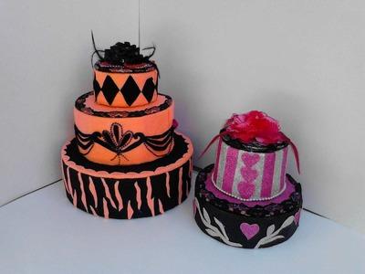 Cajas  decoradas en forma de pastel