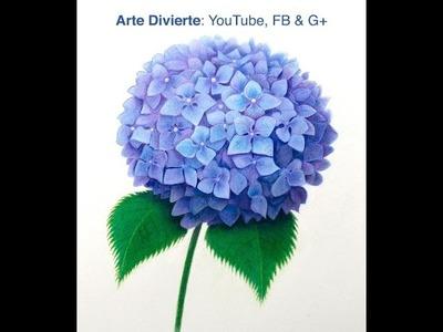 Cómo dibujar una hortensia con lápices de colores - Cómo dibujar flores