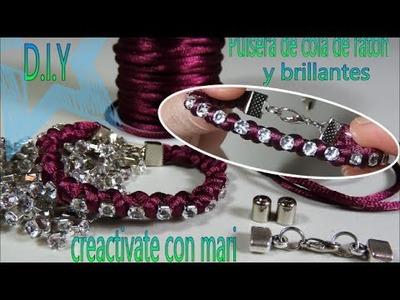 Como hacer pulseras con cola de ratón y cadena de brillantes, bracelets