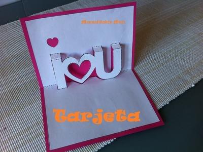 Pop Up. Tarjeta I Love You. Perfecto para regalar el día de la madre o San Valentin.