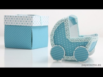 Tarjeta cochecito bebé baby shower. Manualidades con papel