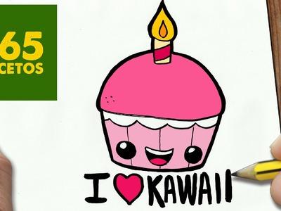COMO DIBUJAR CUPCAKE KAWAII PASO A PASO - Dibujos kawaii faciles - How to draw a Cupcake