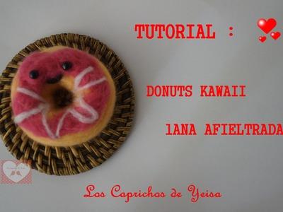 Tutorial Donuts kawaii lana afieltrada | Needle felting Donuts kawaii