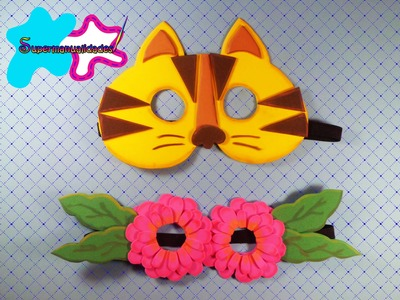 Antifaz de fomi (Gatito y flores) ∞SUPERMANUALIDADES∞