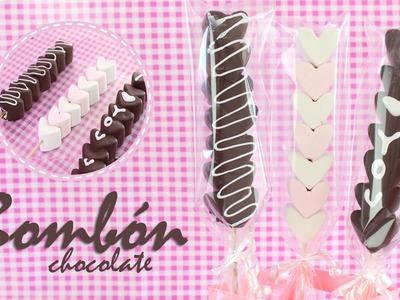 Brochetas de Bombón cubiertas de Chocolate