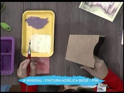 Caja con pátina de esponja y stencil 3D