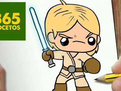 COMO DIBUJAR LUKE SKYWALKER PARA NAVIDAD PASO A PASO: Dibujos kawaii navideños - draw Luke skywalker