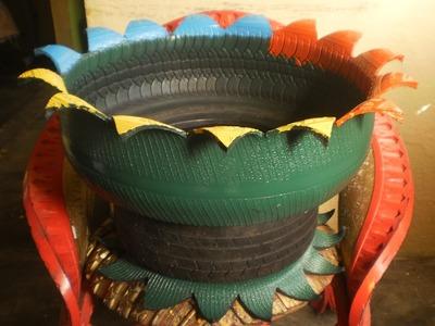 Como hacer macetas con llantas recicladas paso a paso