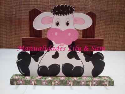 Como hacer un Porta-cubiertos de Madera MDF Vaca Country