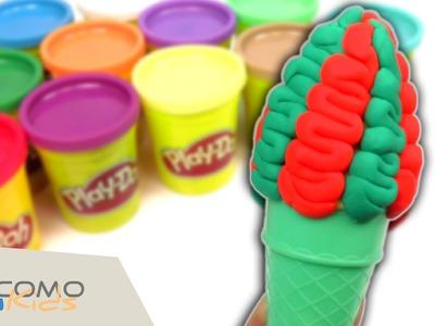 Cucurucho helado de colores con Play Doh