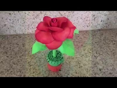 Manualidades para el día de las madres.Una Rosa de Foami