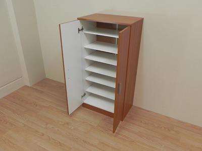 Zapatero armario de gran capacidad, economico con 7 baldas. Color castaño, Ref. 10118