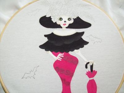 109.- como pintar una  catrina parte 2 pintura textil, Iztac Madrigal