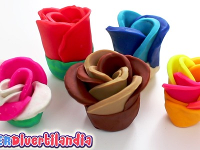 Como hacer flores de plastilina. Muy fácil! SUPERDivertilandia. Playdough flowers!