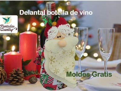 Adorno Navideño Delantal botella de vino; moldes gratis