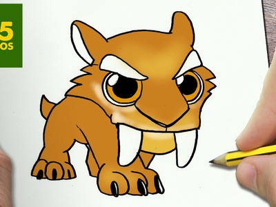 COMO DIBUJAR DIEGO DE ICE AGE KAWAII PASO A PASO - Dibujos kawaii faciles - How to draw Diego
