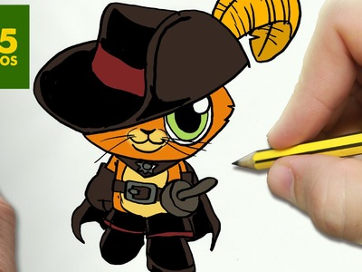 COMO DIBUJAR GATO CON BOTAS KAWAII PASO A PASO - Dibujos kawaii faciles - How to draw PUSS IN BOOTS